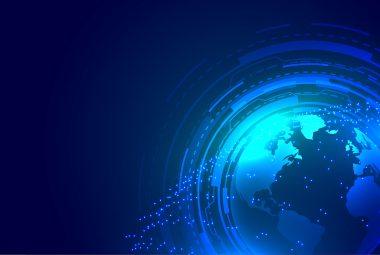 global earth blue technology digital background design