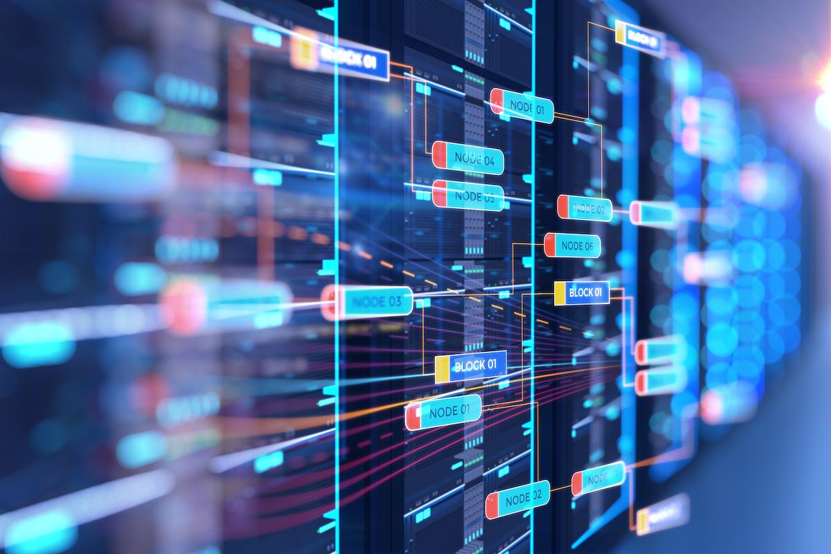 server room 3d illustration with node base programming data design element.