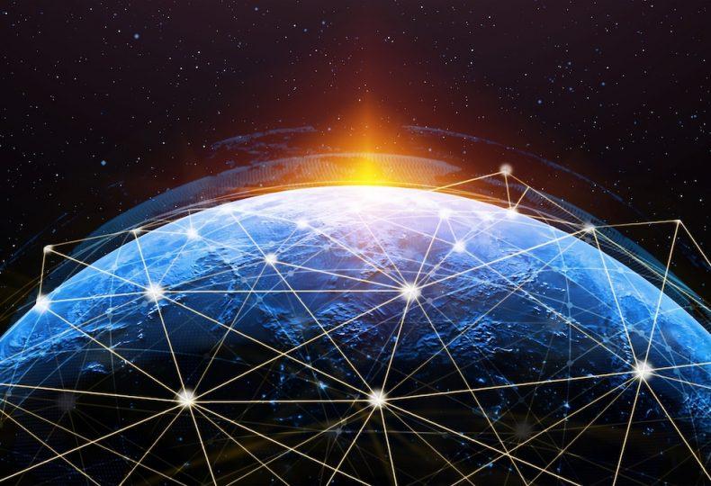 3D illustration global modern creative communication and internet network map