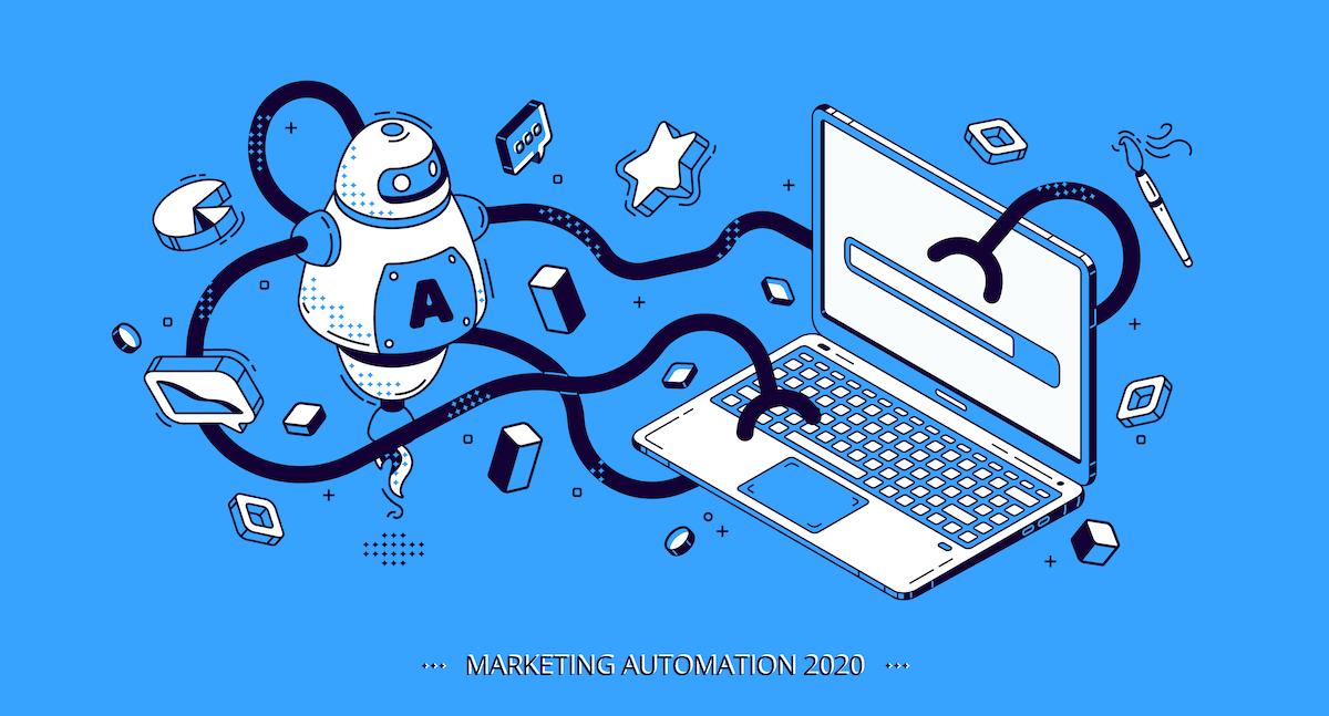 Marketing automation 2020 isometric banner, SEO