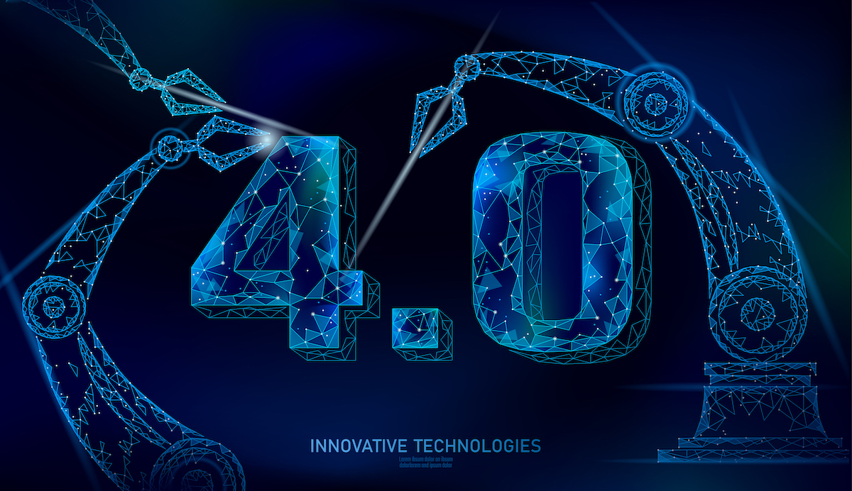 Low poly future industrial revolution concept. Industry 4.0 number assembled by robotic arm. Online technology industry management. 3D polygonal innovation system vector illustration