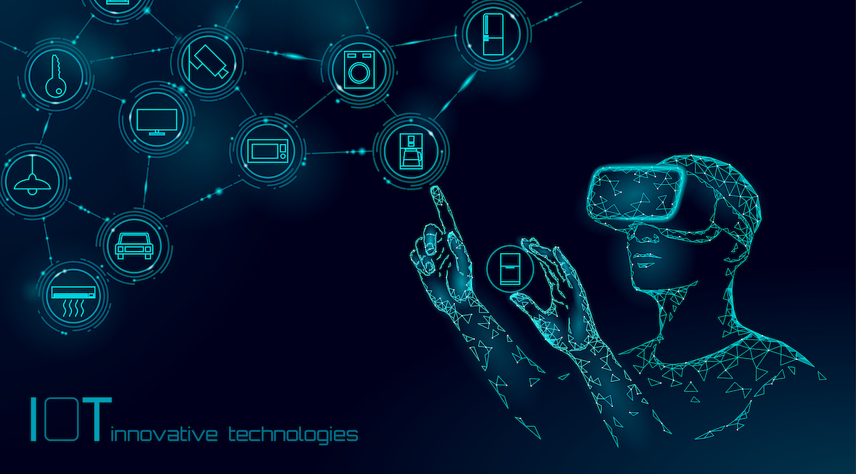 Internet of things modern operation by vr glasses innovation technology concept. Wireless communication augmented reality network IOT ICT. Home intelligent system automation vector illustration