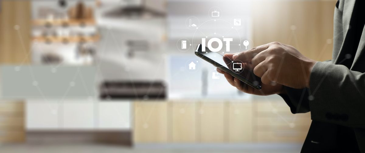 Smart home connection Smart home tech device IoT House automation interiors, living room, kitchen, bedroom and bathroom