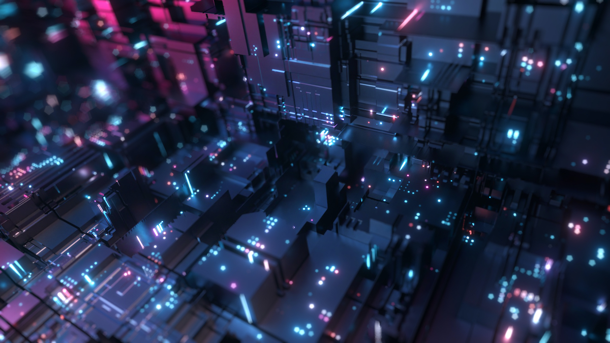 Abstract big data transfer. Binary processing is handled by the computer motherboard. Futuristic processing of server code. Blue technology background with bokeh. 3d illustration