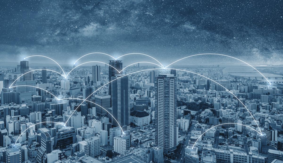 network-connection-technology-city-osaka-city-japan