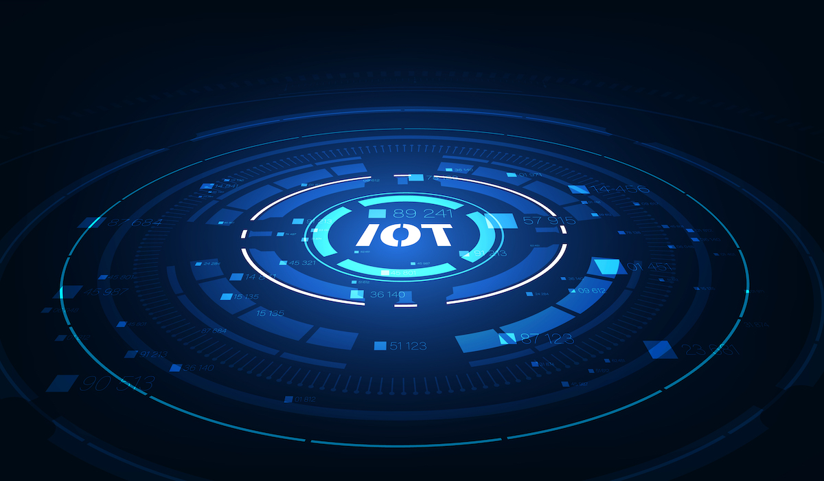 landing page IoT. Internet of things devices and connectivity concepts on a network. Spider web of network connections