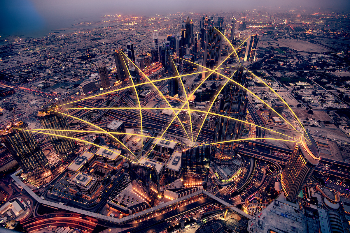 Aerial view of city at night. Social media connection concept. Photo manipulation.