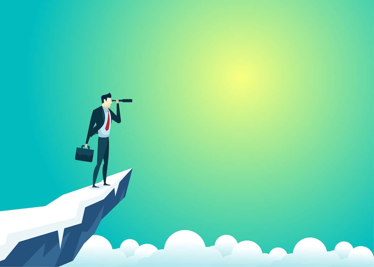 business people illustration of businessman top mountain looking use telescope