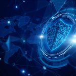 Shield Icon Cyber Security, Digital Data Network Protection, Future Technology Digital Data Network Connection Background Concept.