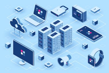 Computer technology isometric icon, server room, digital device set, element for design, pc laptop, mobile phone with smartwatch, cloud storage, flat vector