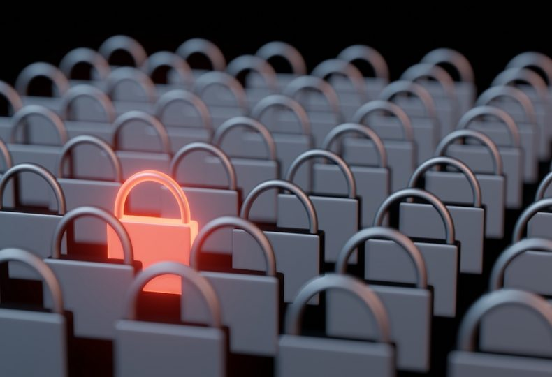 3d-rendering-rows-columns-steel-iron-pad-locks-with-one-stand-out-glowing-red-hot-metal