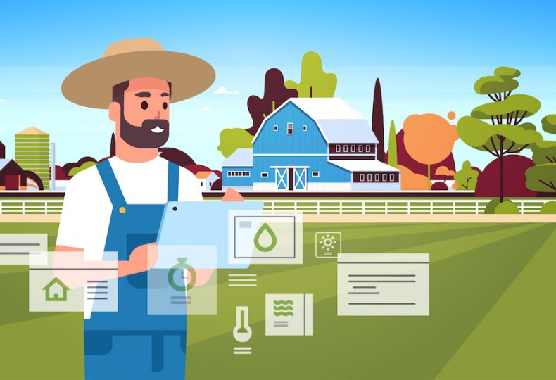 man farmer with tablet monitoring condition controlling agricultural products organization of harvesting smart farming concept farm building landscape background flat horizontal portrait