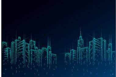 Low poly smart city 3D wire mesh. Intelligent building automation system business concept. High skyscrapers border pattern background. Architecture urban cityscape technology vector illustration