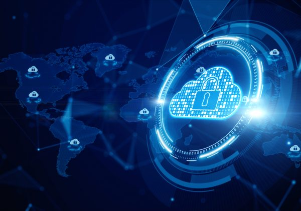 Digital Cloud Computing, CyberSecurity, Digital Data Network Protection, Future Technology Digital Data Network Connection Background Concept.
